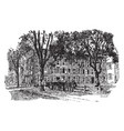 the old fence at yale or old brick row college vector image vector image