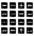 Transport icons set grunge style vector image vector image
