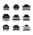 typewriter machine keys icons set simple style vector image