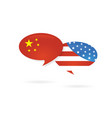 Us america and china flags on glossy speech bubble