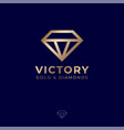 v monogram jewelry logo gold lines vector image