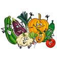 vegetable characters group cartoon vector image vector image