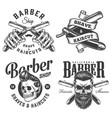 vintage monochrome barbershop logotypes vector image