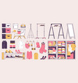 wardrobe furniture collection in pink and yellow vector image