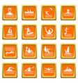 water sport icons set orange vector image vector image