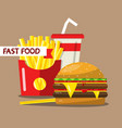 fast food flat design meal french fries hamburger vector image