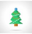 Green Xmas tree flat color icon vector image