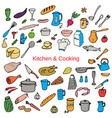 food and kitchen color hand drawn icons set vector image