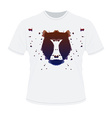 White t-shirt with black aggressive head of baboon vector image