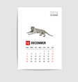 2016 december calendar tiger polygon vector image vector image