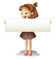 A smiling young girl holding an empty cardboard vector image