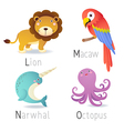 Alphabet with animals from L to O Set 2 vector image