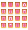 arch set icons pink vector image vector image