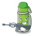 army thermos character cartoon style vector image vector image
