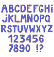 awesome letters and numbers with metallic contour vector image vector image