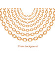 background with chains golden metallic necklace vector image