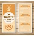 Bakery Shop Menu vector image vector image