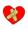 broken heart with bandage sketch vector image vector image