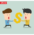 Business man snatching money - - EPS10 vector image vector image