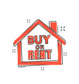 cartoon buy or rent house icon in comic style vector image
