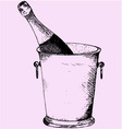 Champagne bottle in a ice bucket vector image