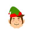 christmas elf sleeping emoji santa helper asleep vector image vector image