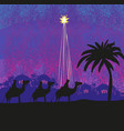 classic three wise men scene and shining star of vector image