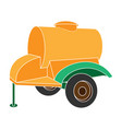 colour trailer on wheels with yellow barrel vector image vector image
