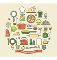 Cooking Foods and Kitchen color outline icons set vector image vector image