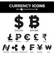 currency icon sign set money famous world vector image