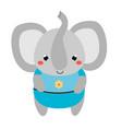 Cute elephant in blue clothes cartoon kawaii