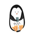 cute funny emperor penguin with mobile phone vector image