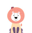 cute lion with ladybug on head vector image