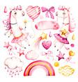 cute unicorn bagirl watercolor nursery vector image