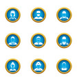 discrete icons set flat style vector image vector image