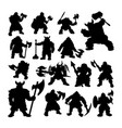 dwarf warrior silhouettes vector image