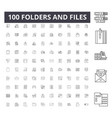 folders and files line icons signs set vector image vector image