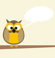 Funny talking owl sitting on the tree vector image vector image