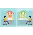 health care man in wheelchair and store vector image