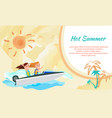 hot summer poster with place for text boating girl vector image vector image
