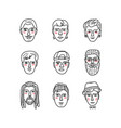 mans faces doodle portraits of men funny vector image vector image