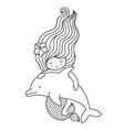 mermaid with beautiful long wavy hair floating vector image vector image