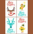 merry christmas reindeers vector image vector image