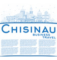 outline chisinau moldova city skyline with blue vector image vector image