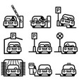 passenger car in various places vector image