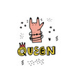 queen lettering sticker vector image