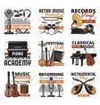 retro music instruments vinyl records shop icons vector image