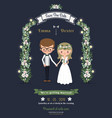 Rustic romantic cartoon couple wedding card
