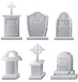 set of tombstone isolated on white background vector image