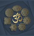 set seven chakras and symbol om vector image vector image